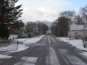 Looking west along Edderton's main road (A836) - 14 01 2016